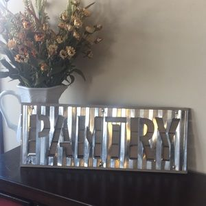 Galvanized Metal Rustic Wood Pantry Wall Sign